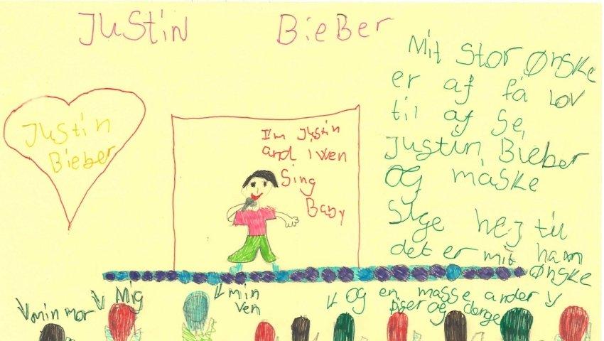 Kristines drømmetegning om det at møde Justin Bieber