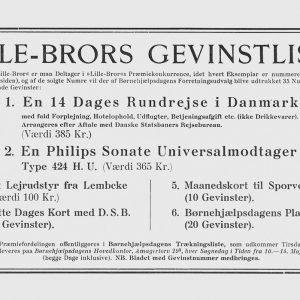 Gevinstliste for Lillebror Lotteriet i 1938.