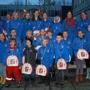 FDF'ere fra Veksø-Stenløse gruppe med Lillebror Lotteriet i 2011.