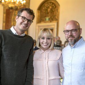 Pelle Hvenegaard, Jenna Bagge og Jonas Schmidt.