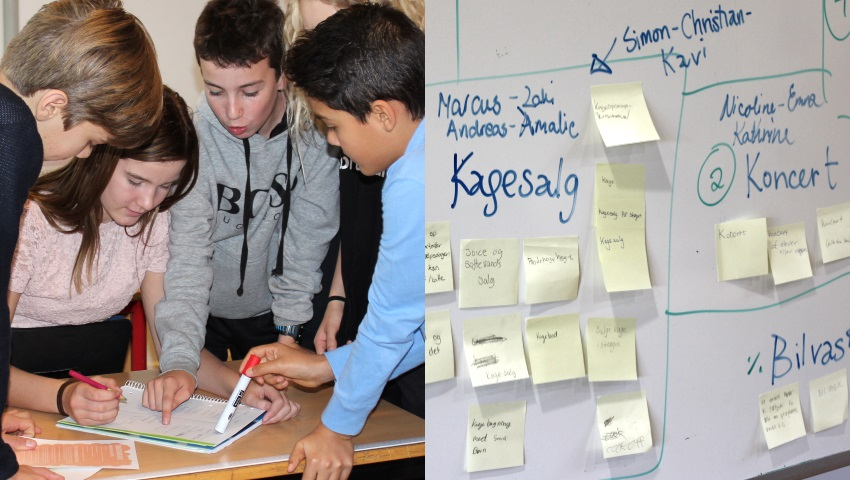 Skolelever til Ungdomsværn deles ud i projektgrupper. Her er indsamlingsgruppen